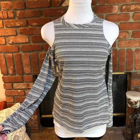 Harlowe & Graham Striped Stretch Cold Shoulder Top